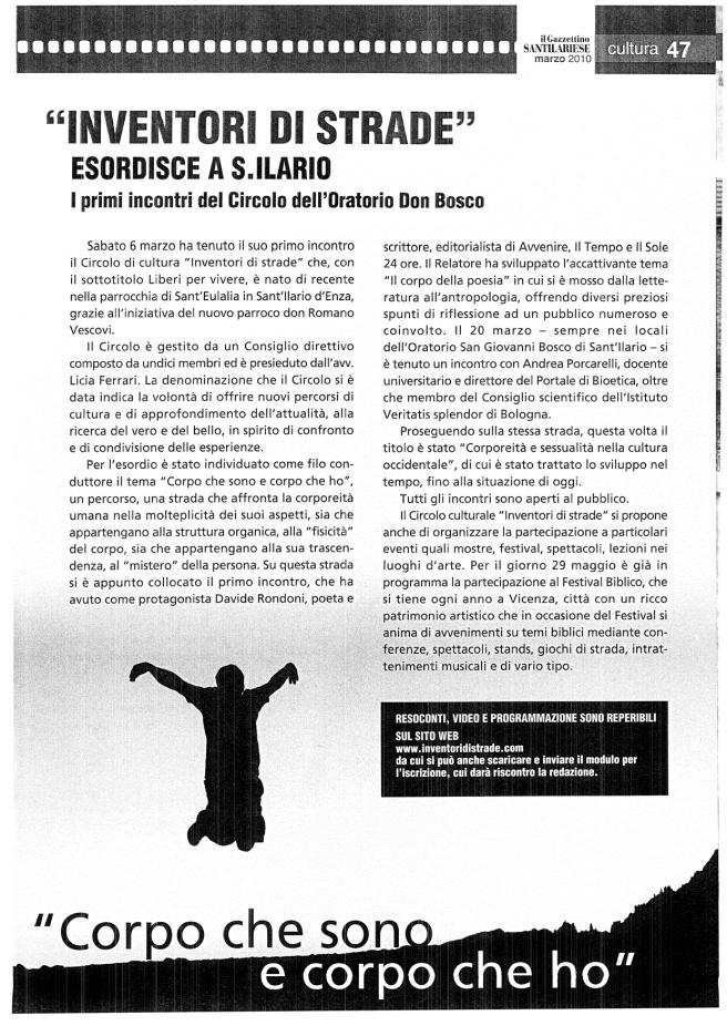Gazzettino su Inventori - marzo 2010