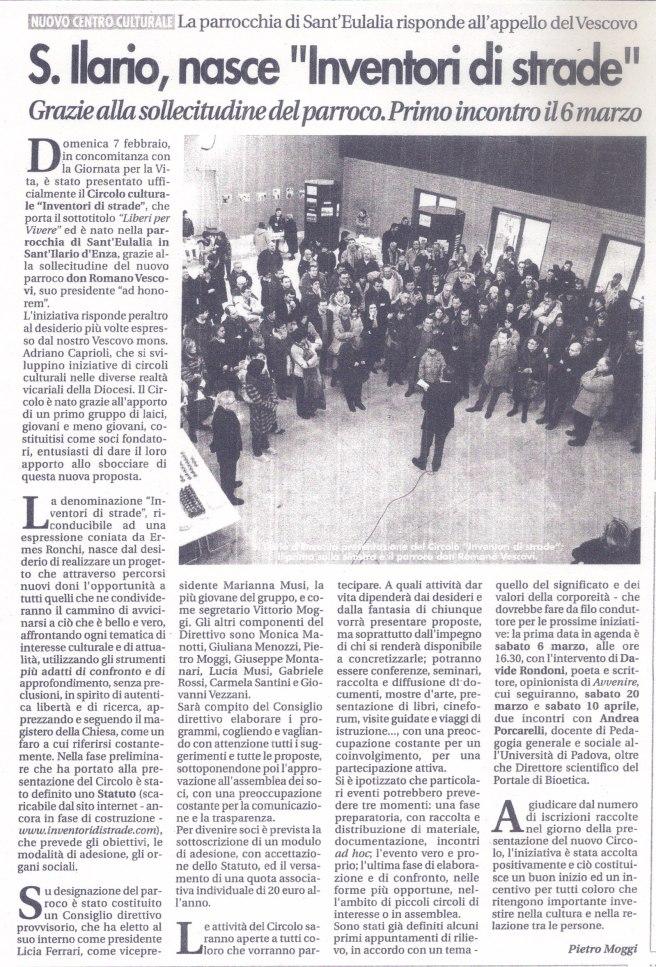 """""""La libertà"""" del febbraio 2010 annuncia la nascita di """"Inventori di strade"""""""