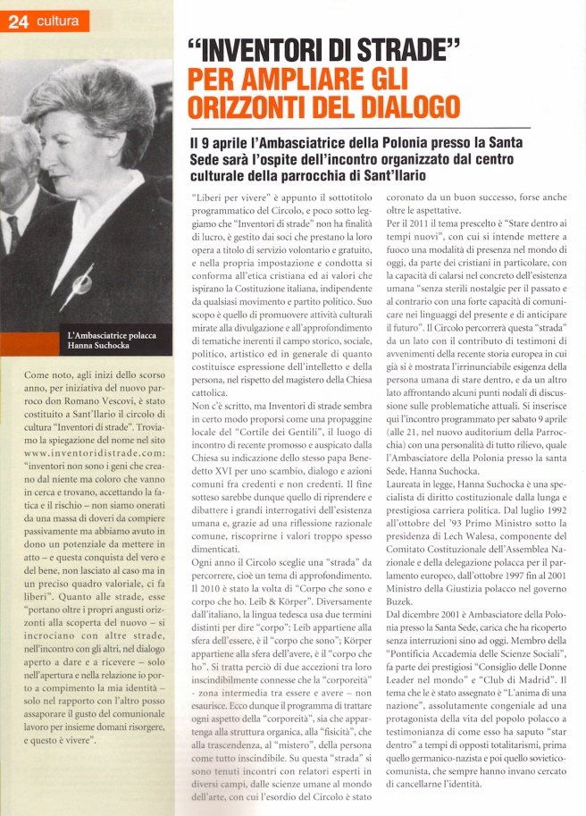Suchocka - Articolo Gazzettino Santilariese marzo 2011